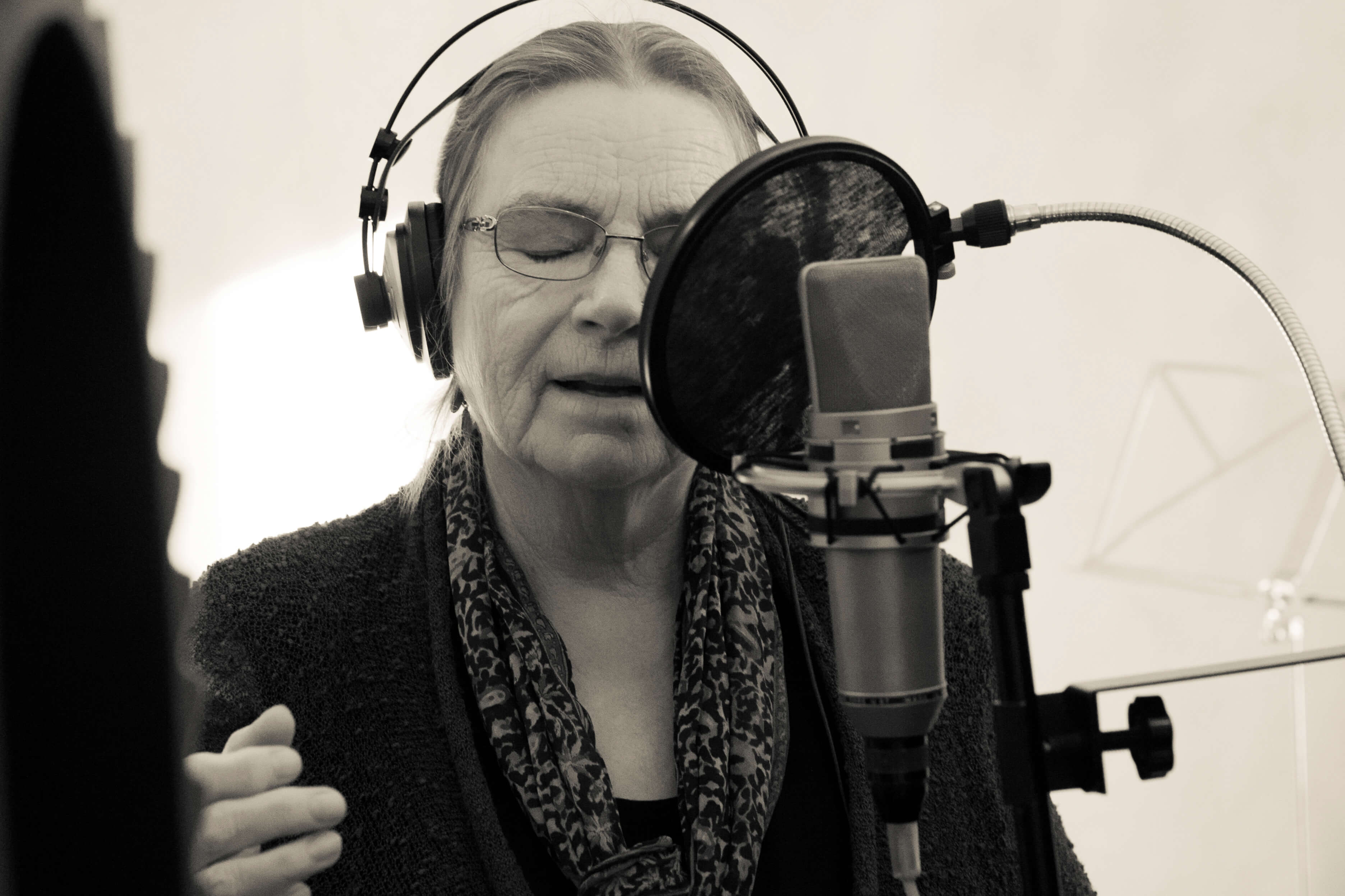 Valerie singing in studio